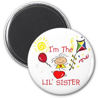 Stick Figure Little Sister Girl Refrigerator Magnet