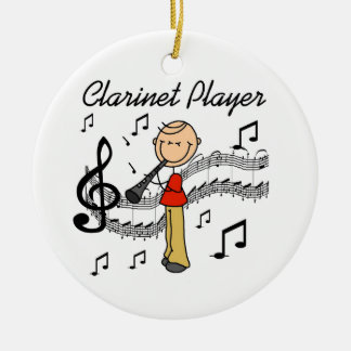 Stick Figure Male Clarinet Player Tshirts and Gift Christmas Ornament