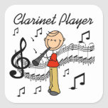 Stick Figure Male Clarinet Player Tshirts and Gift Square Stickers