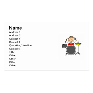 Stick Figure Male Drummer T-shirts and Gifts Business Card Template