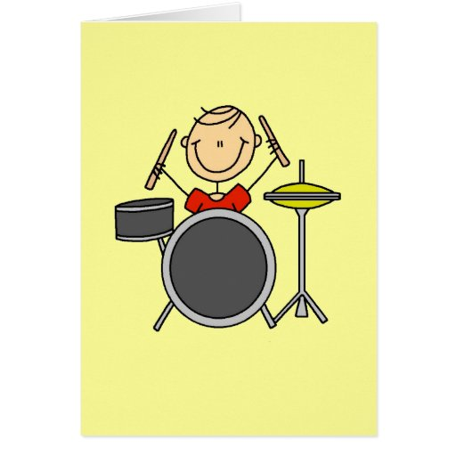 Stick Figure Male Drummer T-shirts and Gifts Greeting Card