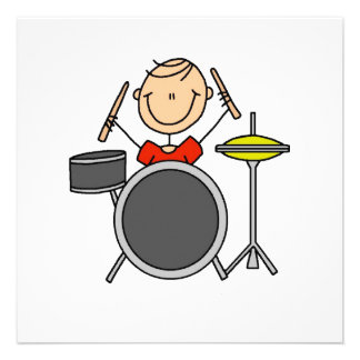 Stick Figure Male Drummer T-shirts and Gifts Custom Announcements