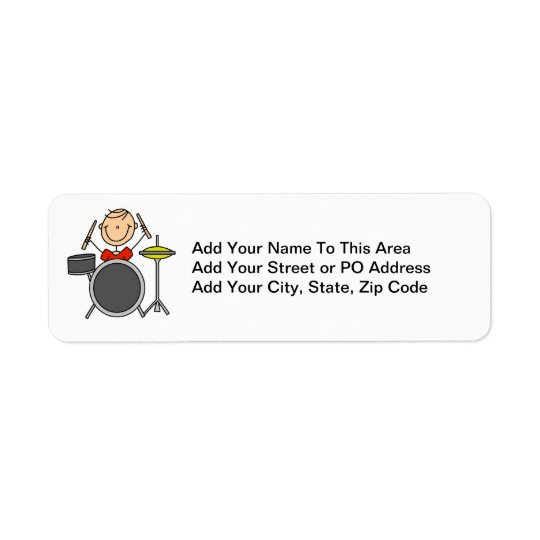 Stick Figure Male Drummer T-shirts and Gifts Return Address Label