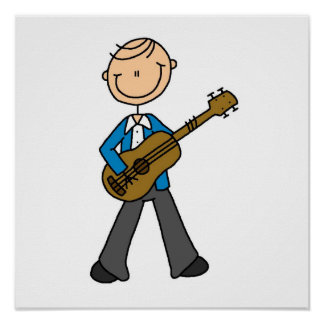 Stick Figure Male Guitar Player T-shirts and Gifts Print