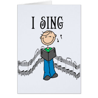 Stick Figure Male I Sing T-shirts and Gifts Note Card
