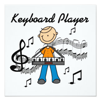 Stick Figure Male Keyboard Player Gifts 13 Cm X 13 Cm Square Invitation Card
