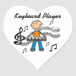 Stick Figure Male Keyboard Player Gifts Heart Sticker