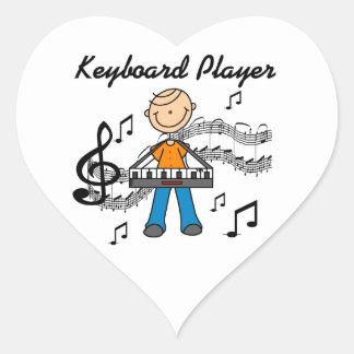 Stick Figure Male Keyboard Player Gifts Heart Sticker