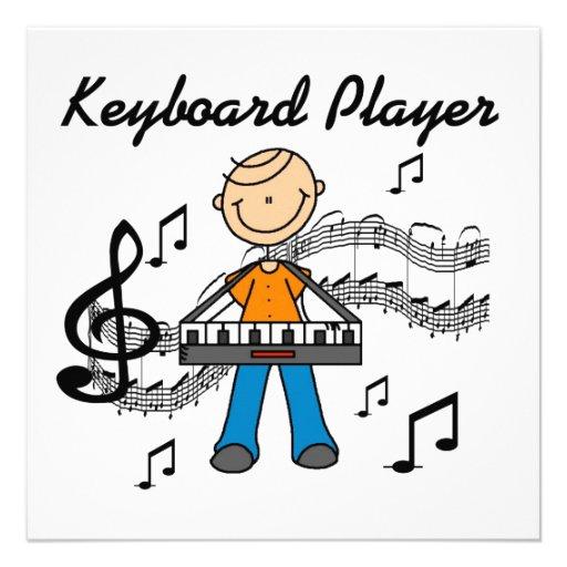 Stick Figure Male Keyboard Player Gifts Personalized Invitations