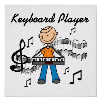 Stick Figure Male Keyboard Player Gifts Posters