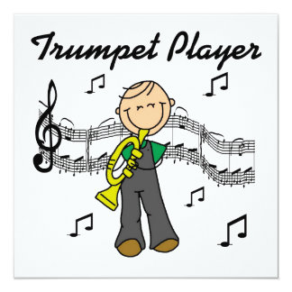 Stick Figure Male Trumpet Player T-shirts and GIft Personalized Invitations