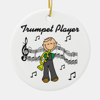 Stick Figure Male Trumpet Player T-shirts and GIft Round Ceramic Decoration