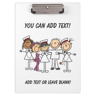 Stick Figure Nurses Customized Clipboard