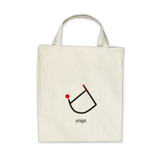 Stick figure of bow yoga pose with yoga text. canvas bag
