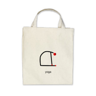 Stick figure of camel yoga pose with yoga text. bag