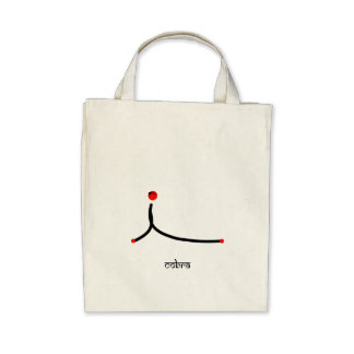 Stick figure of cobra yoga pose with Sanskrit Canvas Bags