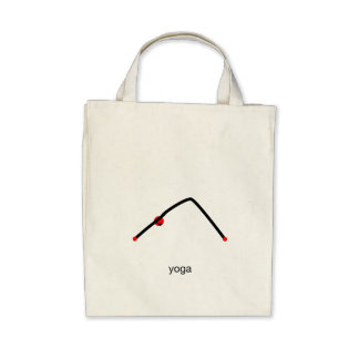 Stick figure of downward dog pose with yoga text. tote bag