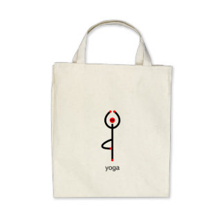 Stick figure of tree yoga pose with yoga text. canvas bags