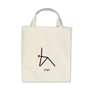 Stick figure of triangle yoga pose with yoga text. tote bags