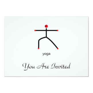 Stick figure of warrior 2 pose with yoga text. 13 cm x 18 cm invitation card