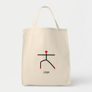 Stick figure of warrior 2 pose with yoga text. tote bags