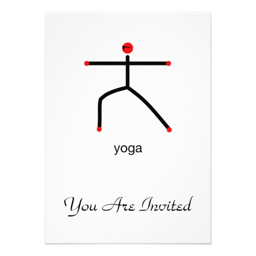 Stick figure of warrior 2 pose with yoga text. personalized announcement