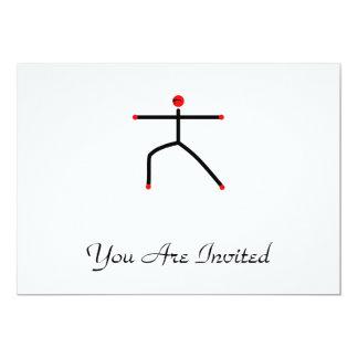 Stick figure of warrior 2 yoga pose. 13 cm x 18 cm invitation card