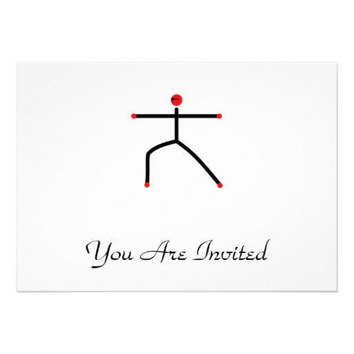 Stick figure of warrior 2 yoga pose. invites