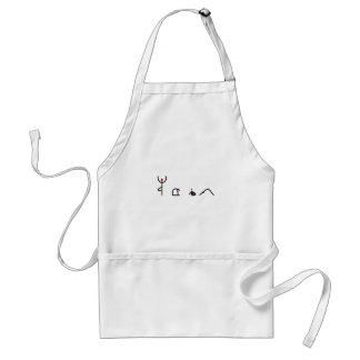 Stick figure of yoga poses spelling YOGA. Aprons