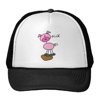 Stick Figure Pig Mesh Hats