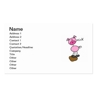 Stick Figure Pig T-shirts and Gifts Business Card Template