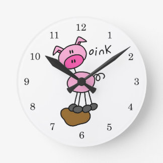 Stick Figure Pig T-shirts and Gifts Round Clock