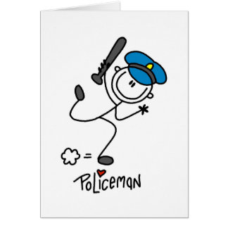 Stick Figure Police Officer Greeting Card