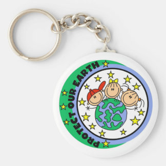 Stick Figure Protect Our Earth T-shirts and Gifts Key Ring