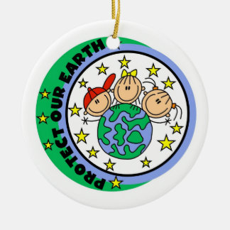 Stick Figure Protect Our Earth T-shirts and Gifts Round Ceramic Decoration