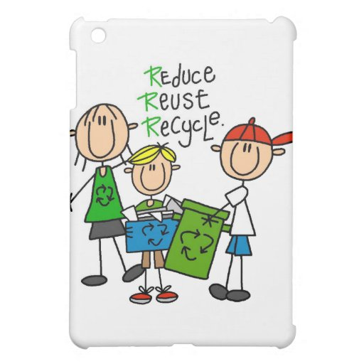 Stick Figure Reduce Reuse Recycle  Cover For The iPad Mini