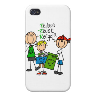 Stick Figure Reduce Reuse Recycle iPhone 4/4S Covers