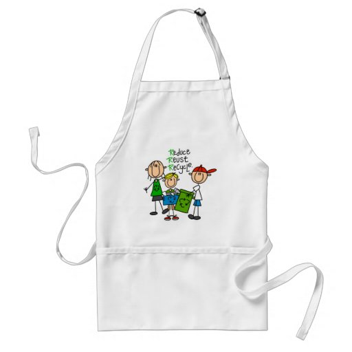 Stick Figure Reduce  Reuse Recycle T-shirts Aprons