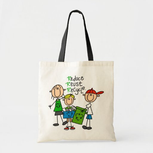 Stick Figure Reduce  Reuse Recycle T-shirts Canvas Bag