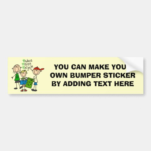 Stick Figure Reduce  Reuse Recycle T-shirts Bumper Stickers