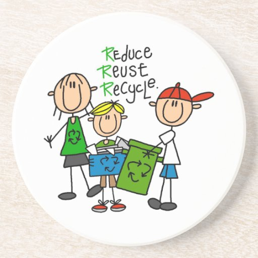 Stick Figure Reduce  Reuse Recycle T-shirts Beverage Coasters
