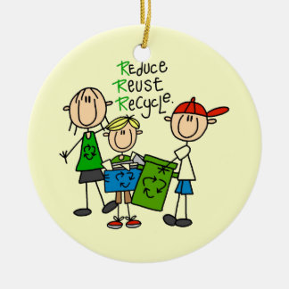 Stick Figure Reduce  Reuse Recycle T-shirts Double-Sided Ceramic Round Christmas Ornament