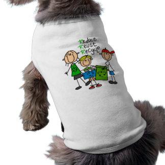 Stick Figure Reduce Reuse Recycle T-shirts Pet Tee Shirt