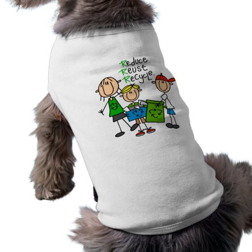 Stick Figure Reduce  Reuse Recycle T-shirts Pet Tee Shirt