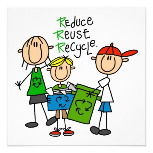 Stick Figure Reduce  Reuse Recycle T-shirts Personalized Invite