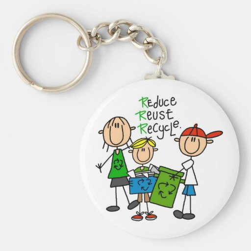 Stick Figure Reduce  Reuse Recycle T-shirts Keychain