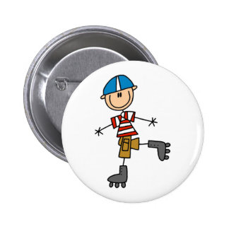 Stick Figure Roller Skating Pinback Button