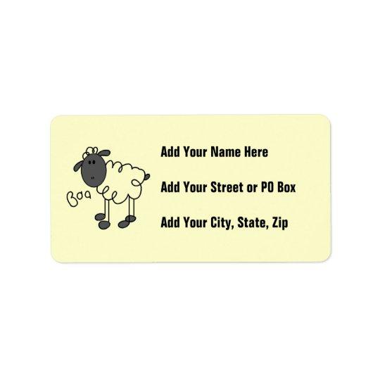 Stick Figure Sheep T-shirts and Gifts Address Label