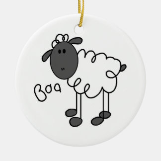 Stick Figure Sheep T-shirts and Gifts Round Ceramic Decoration