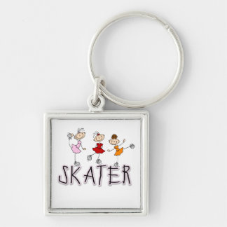 Stick Figure Skater Tshirts and Gifts Silver-Colored Square Key Ring